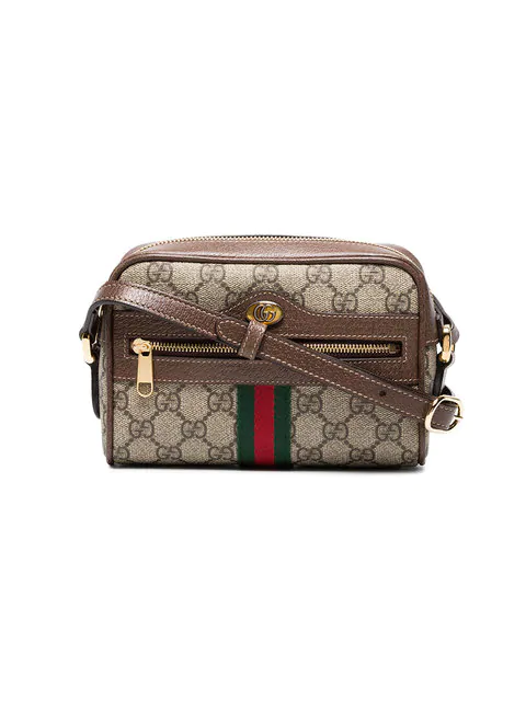Gucci Ophidia Leather-trimmed Printed Coated-canvas Shoulder Bag In Brown