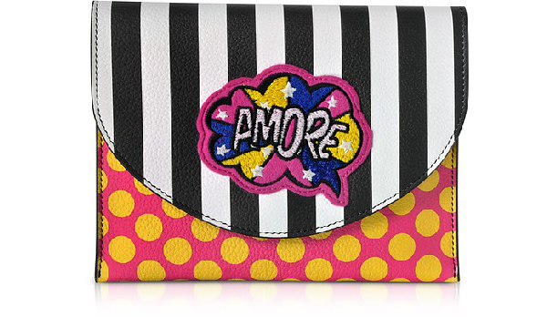 Alessandro Enriquez Miracle Pop Amore Leather Clutch In Black / White