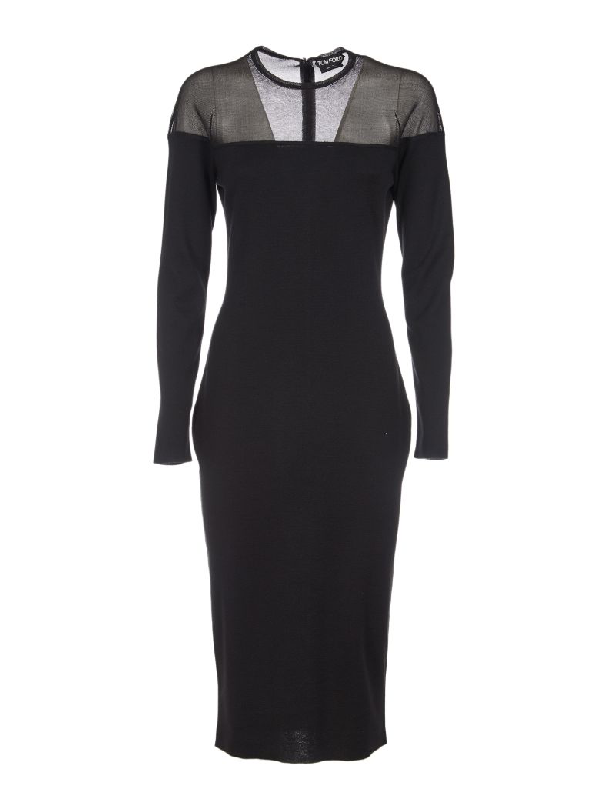 4193c8ffa49 Tom Ford Round-Neck Illusion-Yoke Silk Knit Cocktail Dress In Black ...
