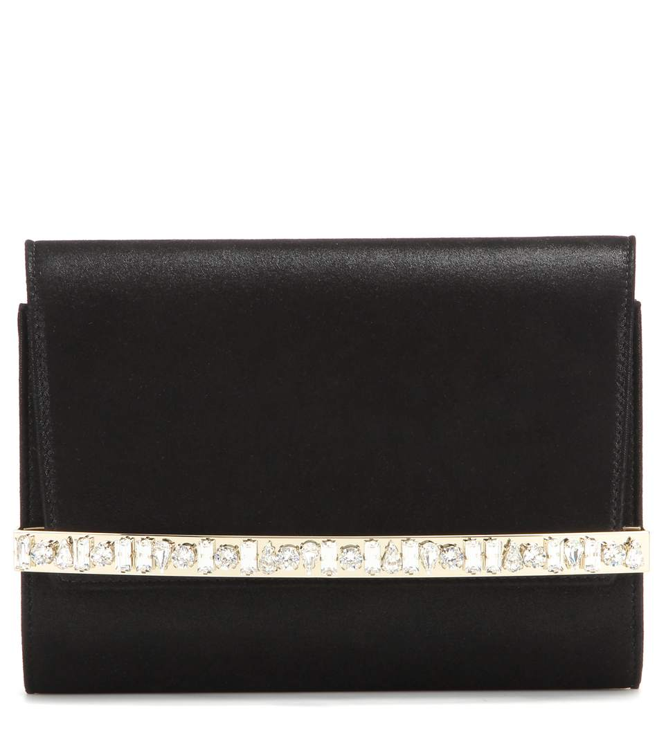 0494376e81 Jimmy Choo Bow Black Shimmer Suede Clutch Bag With Crystal Bar ...