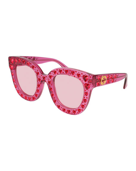 dd5672b013f Gucci Pink Crystal-Embellished Oversized Sunglasses