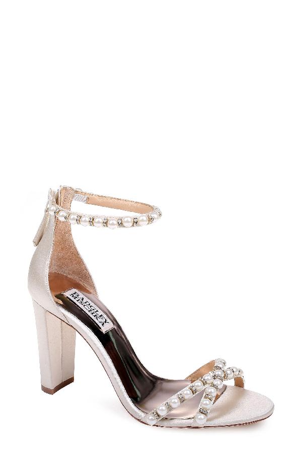 01c121e8b0 Badgley Mischka Women's Hooper Embellished Satin High Block Heel Sandals In  Ivory Satin