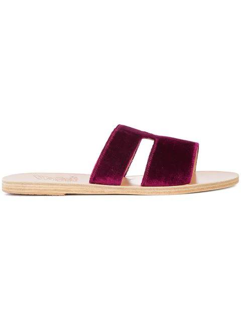 Ancient Greek Sandals Apteros Velvet Slide Sandals In Pink