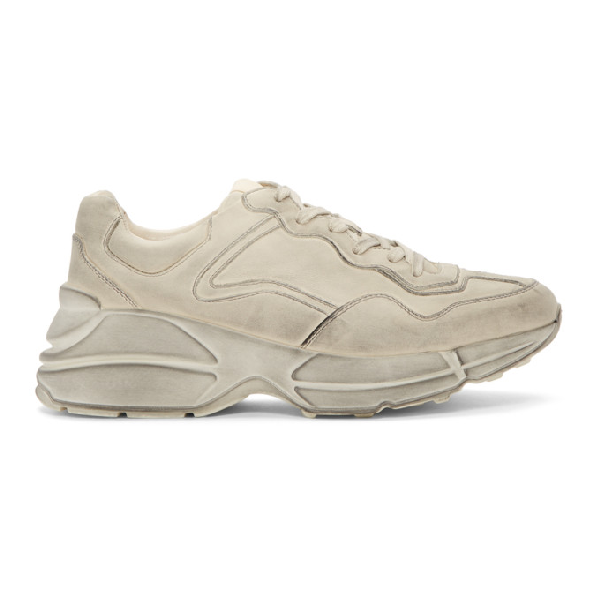 05f9d5fa9cc Gucci Mens Rhyton Distressed Leather Running Trainers In 9522 Ivory ...