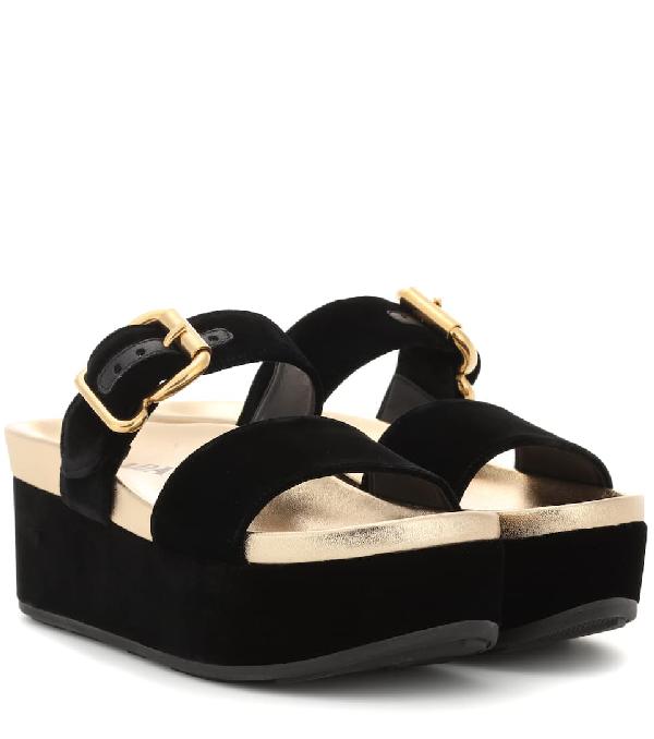 077c3d8b745 Prada Velvet Platform Sandals In Black