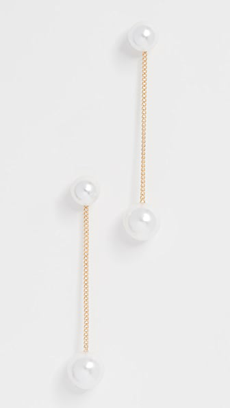 Theia Jewelry Double Imitation Pearl Earrings In Yellow Gold