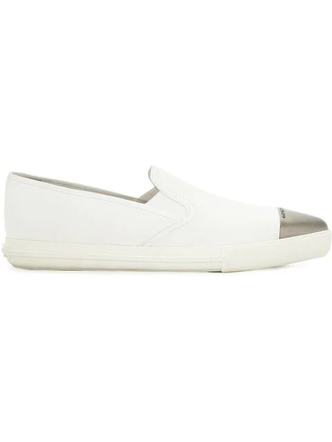 Miu Miu White Toe Cap Embossed Slip-on Sneakers