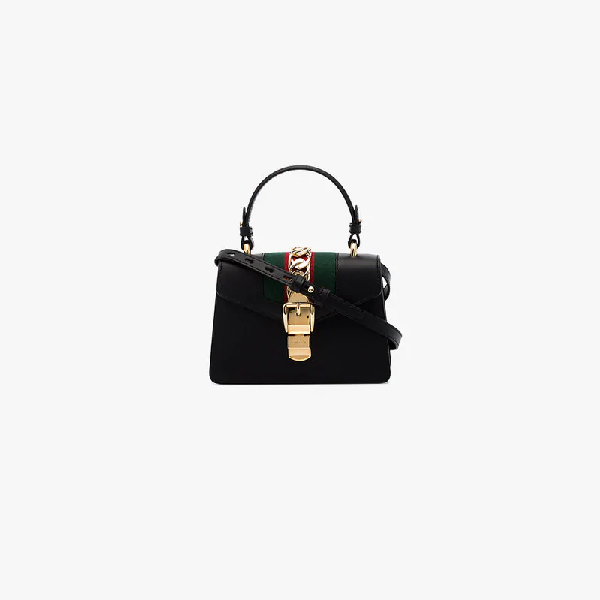 1343bd65f0c7 Gucci Sylvie Mini Chain-Trimmed Leather And Canvas Shoulder Bag In 8015