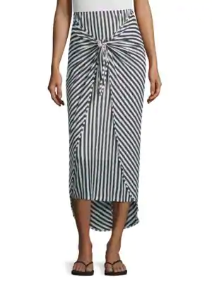 9a669864acc0 Splendid X Margherita Tie-Front Striped Sarong Skirt In Natural/Navy ...