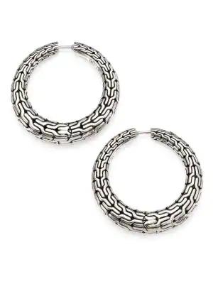 John Hardy Classic Chain Graduated Small Hoop Earrings | Sterling Silver