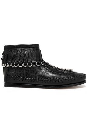 Alexander Wang Montana Embellished Fringed Textured-Leather Ankle Boots In Black