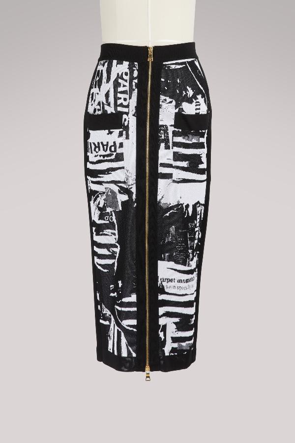 07bb228a4a870 Balmain Newspaper-Print Mid-Calf Pencil Skirt In Black