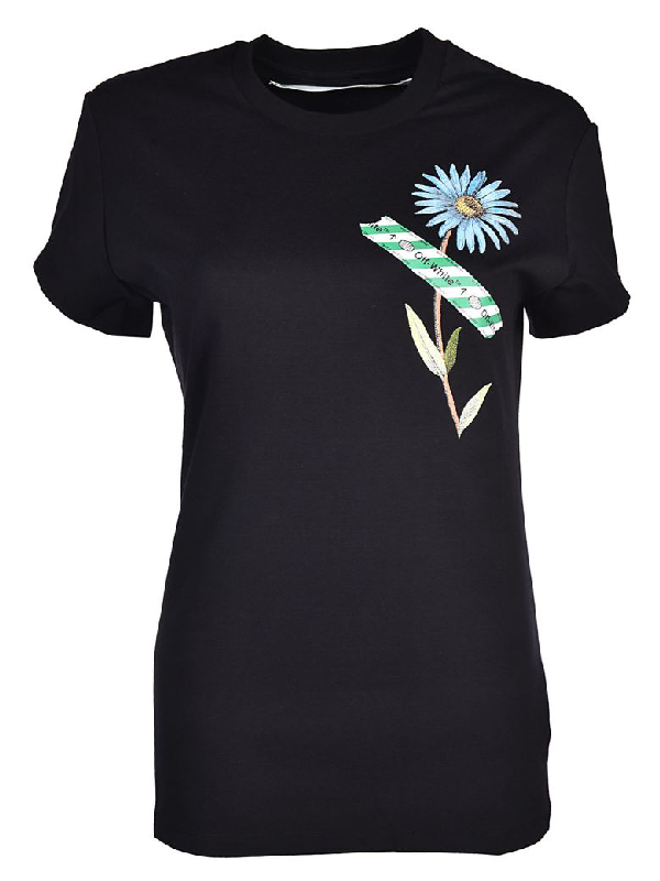 5cec37af Off-White Off White C/O Virgil Abloh Women's Black Flower Tape Fitted Tee
