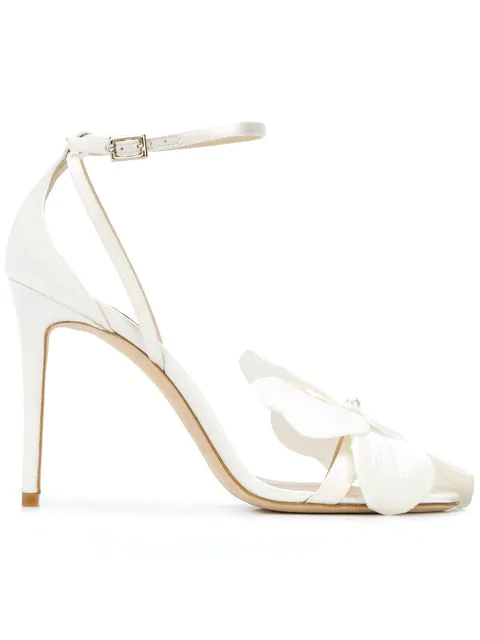Jimmy Choo Aurelia 100 Ivory Satin Sandals With Orchid In White