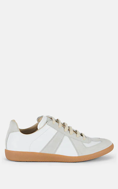 Maison Margiela Men's Replica Leather & Suede Low-Top Sneakers, White