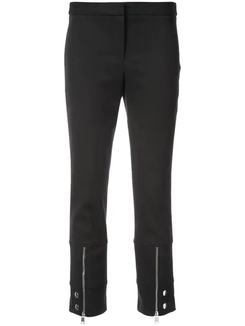 Alexander Mcqueen Mid-rise Cotton-blend Cropped Trousers In Black