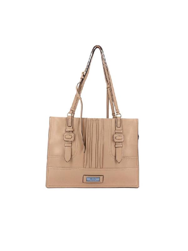 3bf4fb8e4f25 Prada Etiquette Large Glace Calf Shoulder Bag In Beige | ModeSens