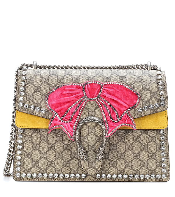 094a65d8f1b8 Gucci Dionysus Medium Gg Supreme Canvas Shoulder Bag With Crystal Bow In  Yellow