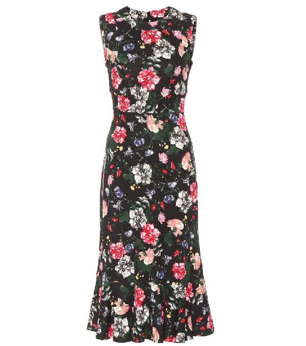 Erdem Floria Floral-print Silk-crepe Dress In Black