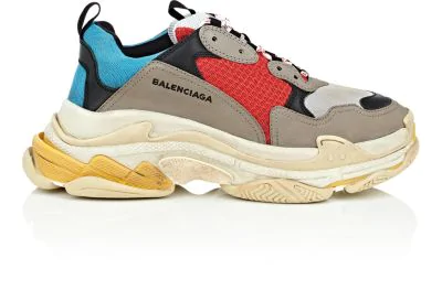 Balenciaga Men's Triple S Mesh & Leather Colorblock Sneakers In Gray