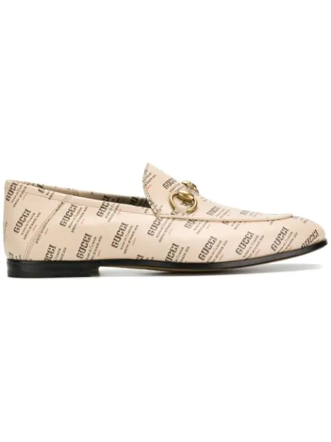 Gucci Brixton Logo Printed Leather Loafers In White