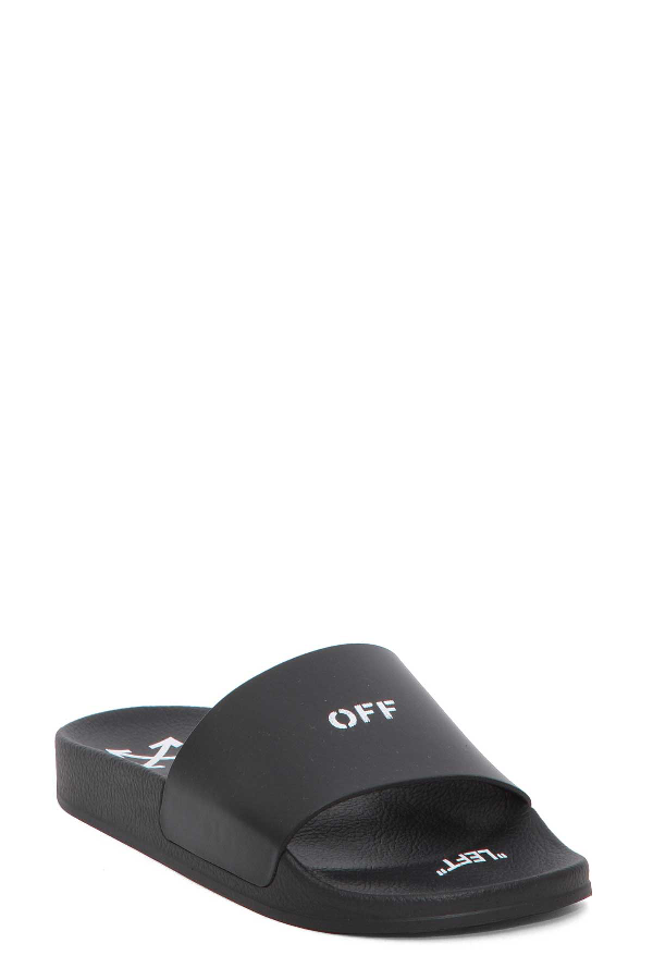 d16043140a5 OFF-WHITE BLACK LOGO SLIDES FEATURE AN OPEN TOE AND A BRANDED INSOLE