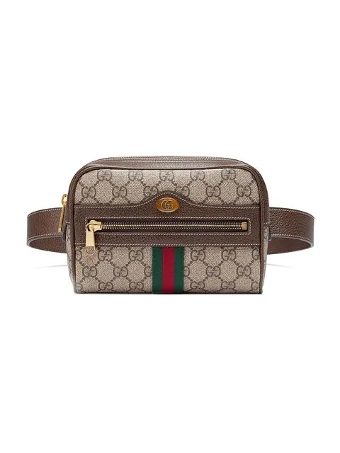 Gucci Ophidia Leather-trimmed Printed Coated-canvas Shoulder Bag In 8745 Brown