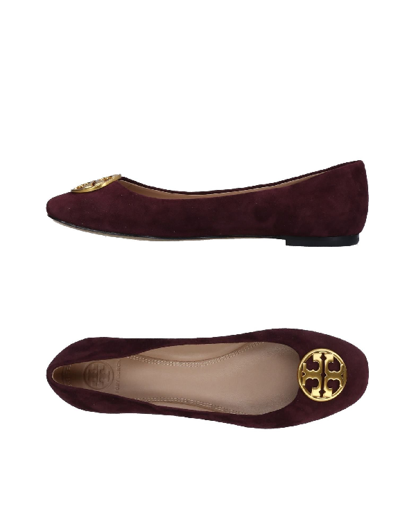 593e7040d Tory Burch Burgundy Nappa   Patent Leather Chelsea Cap-Toe Ballet Flats In  Malbec
