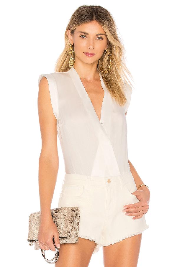 b25102ec5 Lamarque Cinta Silk Bodysuit In White.