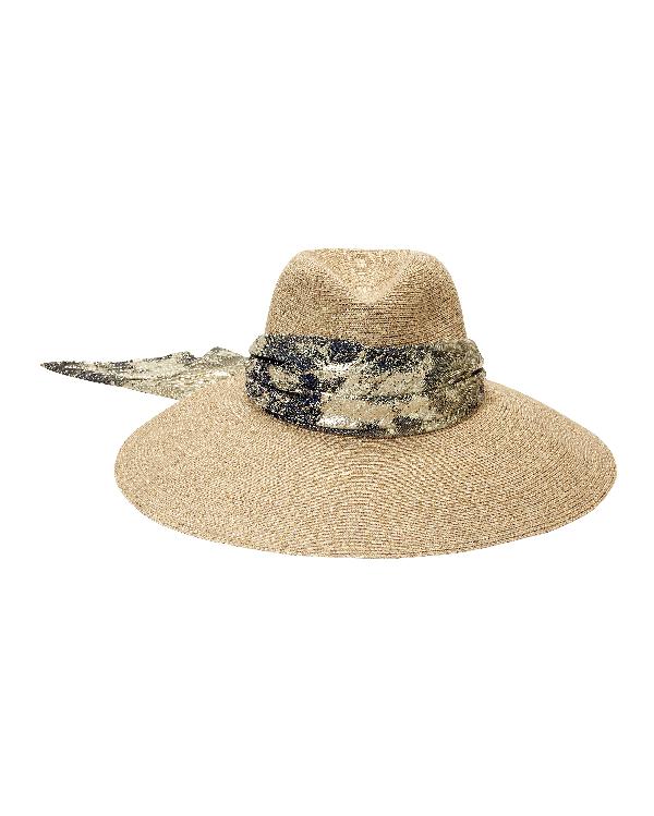 068042dd Eugenia Kim Cassidy Hemp-Blend Sun Hat W/ Metallic Scarf In Sand ...