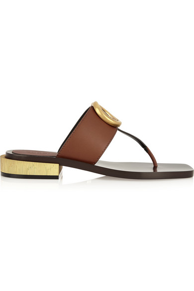 e9160438b0d5d Gucci Marmont Logo Leather Thong Sandal