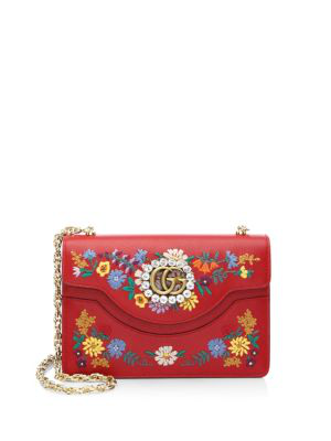 fd29973f089c Gucci Small Linea Ricami Floral Embroidered Shoulder Bag - Red In Hibiscus  Red Multi