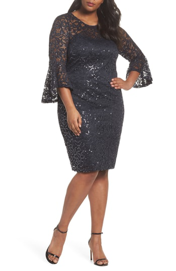 02f5e26a Marina Plus Size Sequin Lace Bell Sleeve Short Dress In Gray | ModeSens