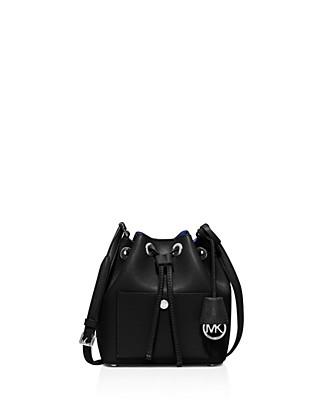 884985fa6004 Michael Michael Kors Greenwich Medium Textured-Leather Bucket Bag In  Blk Drose