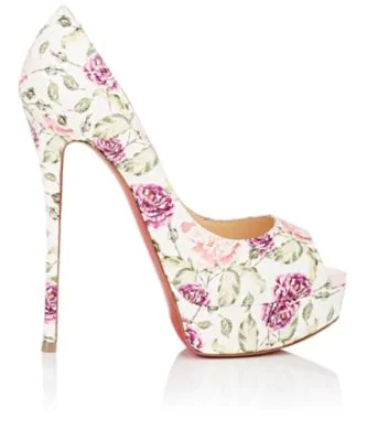 02a53a386e90 Christian Louboutin Fetish Peep-Toe Platform Floral Snakeskin Red Sole Pump  In Latte Pompadour