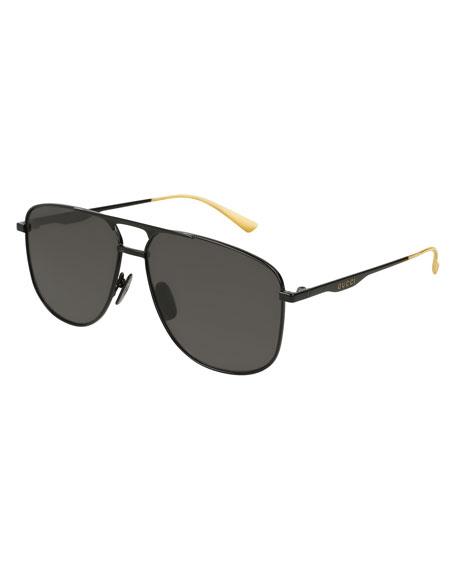 b58492d804f Gucci 80S Monocolor 60Mm Polarized Aviator Sunglasses - Black