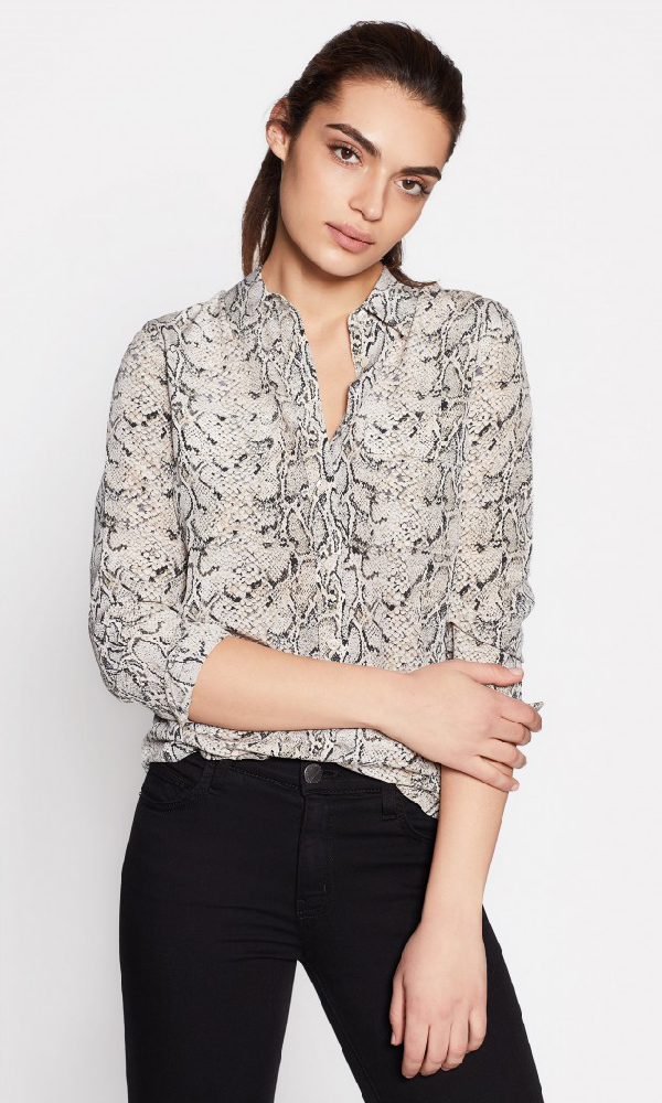 Equipment Slim Signature Python-Print Silk Button-Front Blouse In Natural