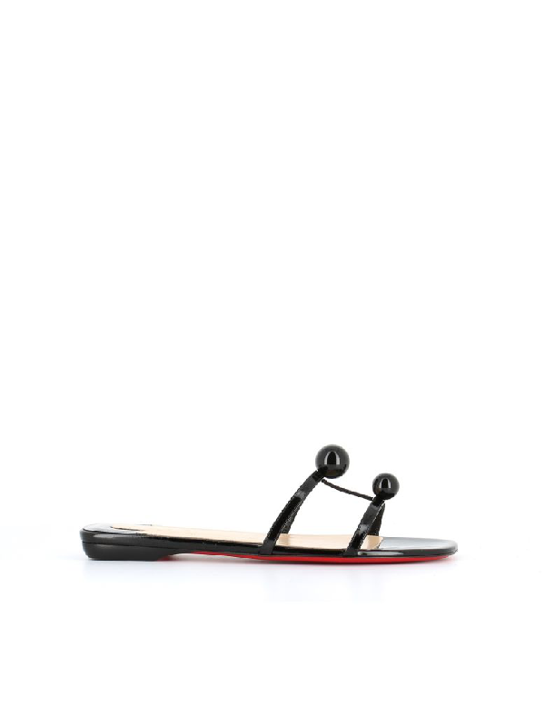 b8e39ddb9969 Christian Louboutin Atonetta Embellished Patent-Leather Slides In Black