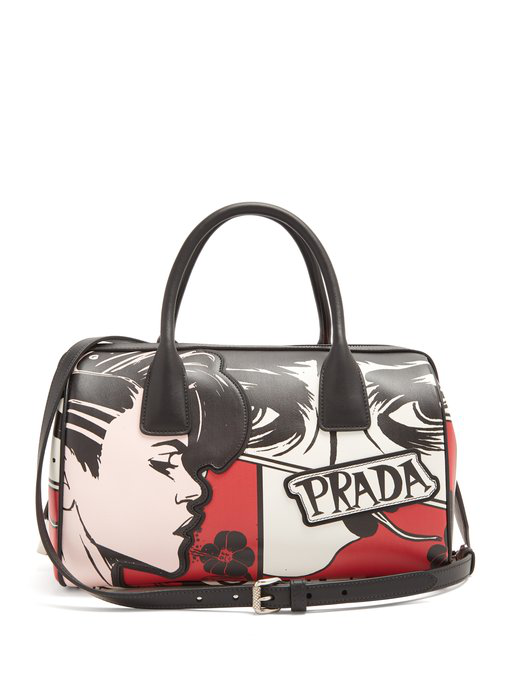 65001cc4f30d Prada Comic Face Grace Lux Duffel Bag In Black Multi | ModeSens