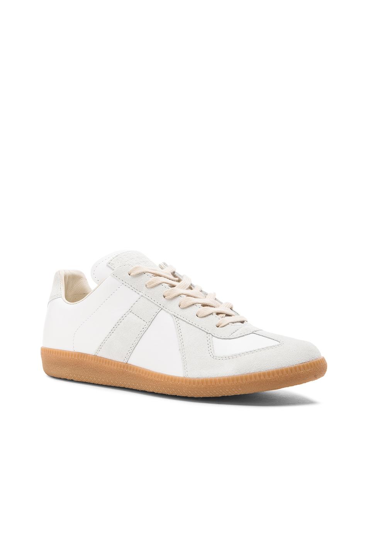 5263f460dff Maison Margiela Replica Calf & Lambskin Leather Sneakers In White ...