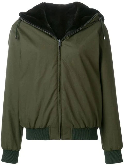 Holland & Holland Reversible Fur Hooded Jacket In Green