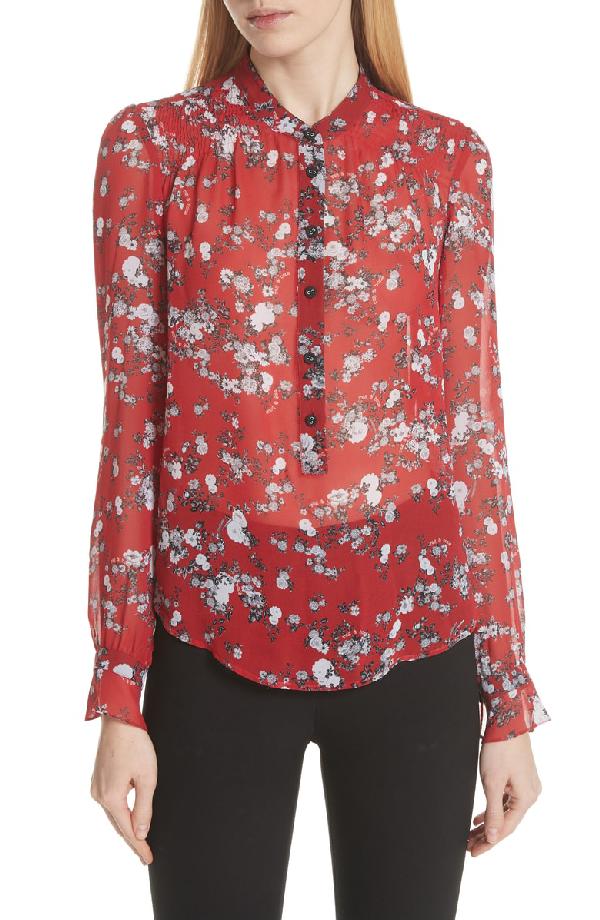 c14965816c1047 Rag   Bone Susan Button-Down Floral-Print Silk Blouse In Red Garden Floral