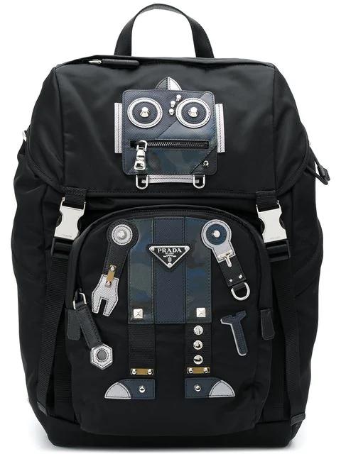 2defc7f2b2b6 Prada Robot Stud And Leather-Embellished Nylon Backpack In Black Blue
