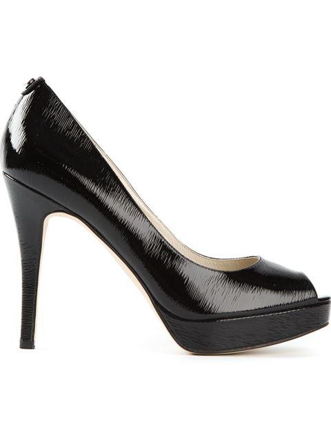 Michael Michael Kors Patent York Peep-toe Platform Pumps In Black
