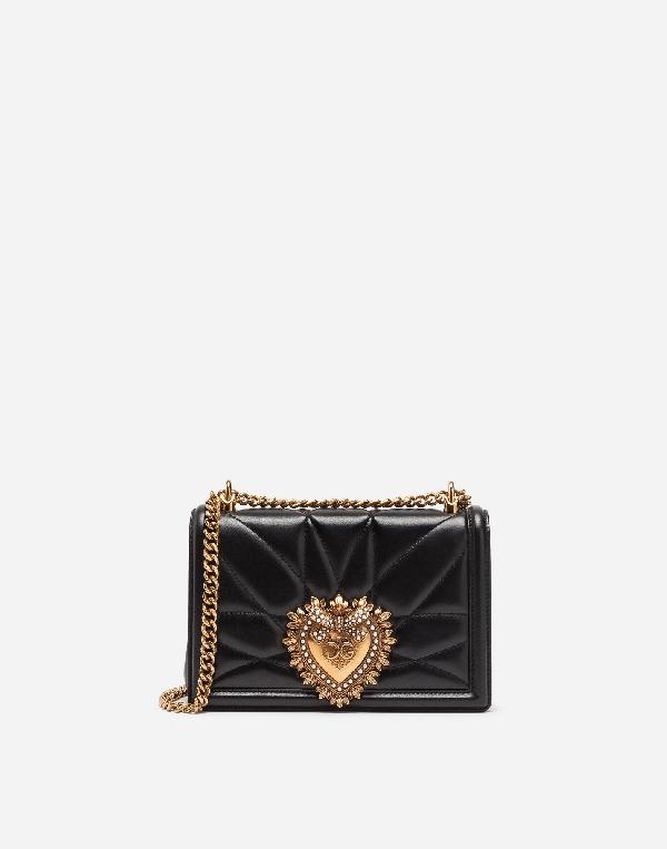 Dolce & Gabbana Large Devotion Lambskin Leather Shoulder Bag - Black