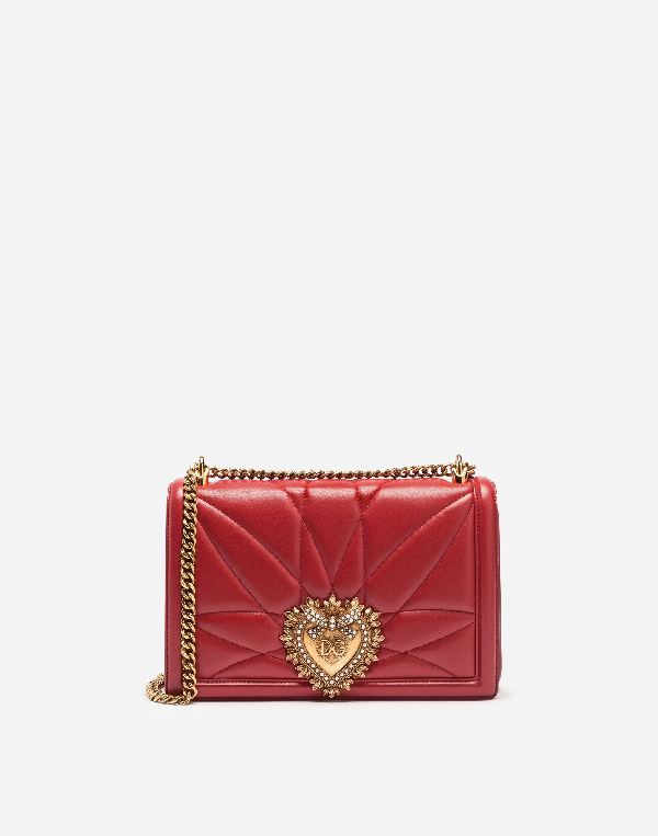 Dolce & Gabbana Medium Devotion Bag In MatelassÉ Nappa Red Color