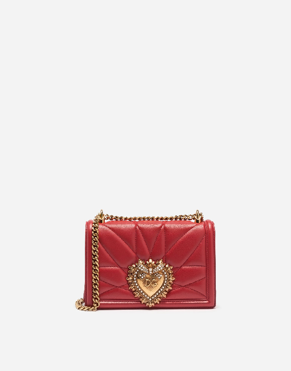 Dolce & Gabbana Medium Devotion Quilted Leather Crossbody Bag In Red