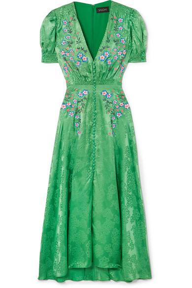 885c8436c Saloni Lea Embroidered Silk-Satin Jacquard Midi Dress In Kelly Green  Embroidery