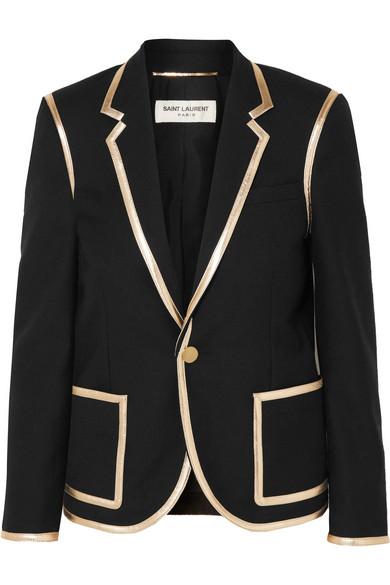 8f1e692393 Metallic leather-trimmed wool blazer