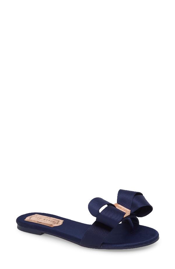 4959dc2eeb8f Ted Baker Women s Beauita Satin Bow Slide Sandals In Navy Satin ...